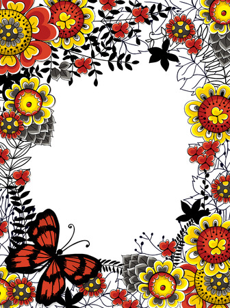 butterfly hand: Hand drawn frame made of various flowers, leaves and butterfly. Floral card template with space for text. Illustration