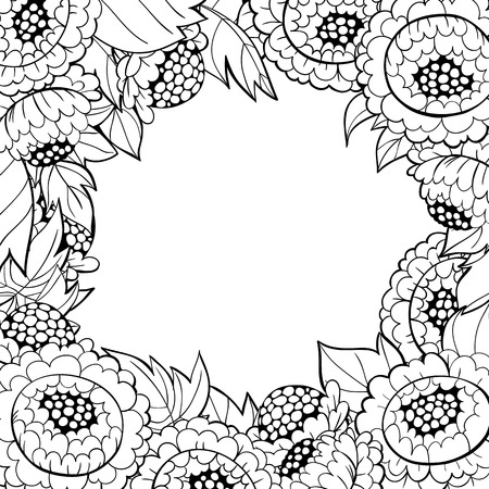 hand drawn frame: Hand drawn frame made of  peonies and leaves on white  background and space for text.