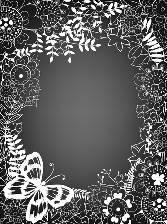 wedding border: Hand drawn frame made of various flowers, leaves and butterfly. Floral card template with space for text. Illustration