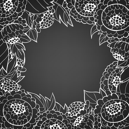 hand drawn frame: Hand drawn frame made of  peonies and leaves on chalkboard background and space for text.