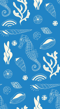 sea shell: Seamless pattern with  underwater creatures.