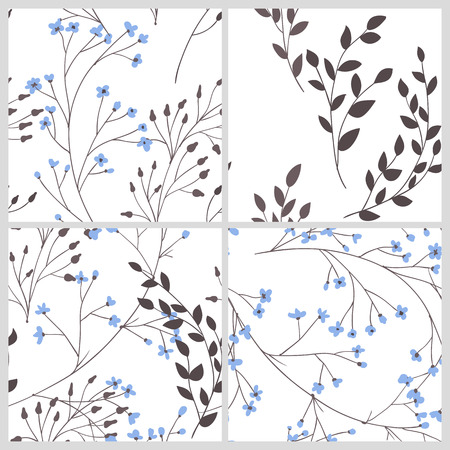 branches with leaves: Set of 4 patterns with branches with leaves and flowers. Elements for design. Illustration