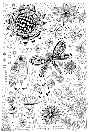 flora fauna: Flora and fauna doodles. Set of  hand drawn flowers, leaves, bird and dragonfly. Elements for design.