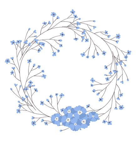 floral objects: Frame made of hand drawn flowers and branches with leaves.