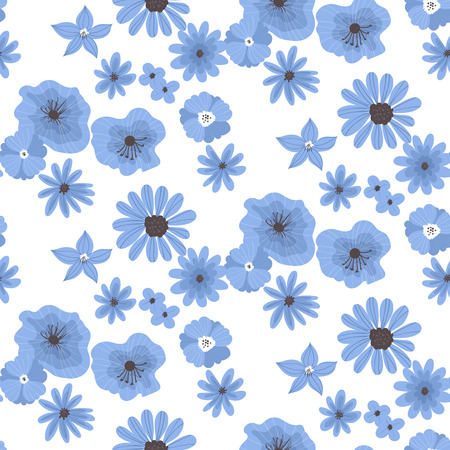 floral objects: Seamless pattern made of various hand drawn blue flowers on white background.