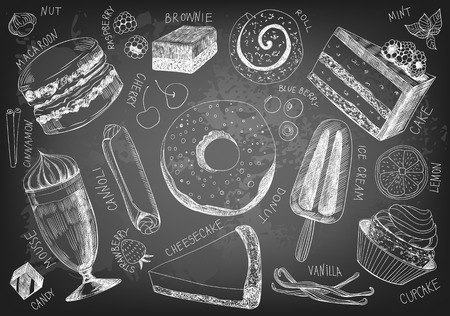 blueberry cheesecake: Collection of hand drawn delicious desserts on chalkboard background.
