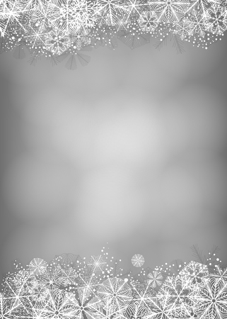 Winter Hintergrund. Borders aus flauschigen Schneeflocken auf weichen grauen Hintergrund mit Platz für Text.