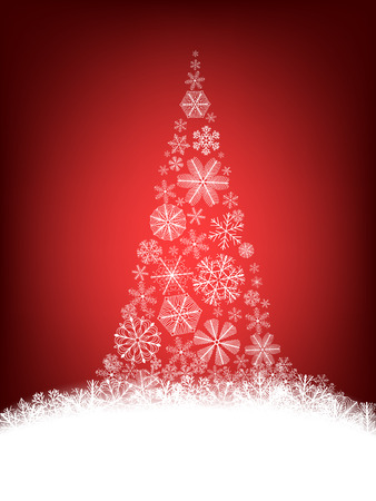 christmas snowflakes: Christmas background. Christmas tree made of fluffy snowflakes on red background.