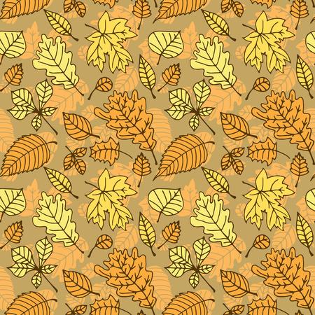 Herbst-Muster mit verschiedenen bunten Blättern.