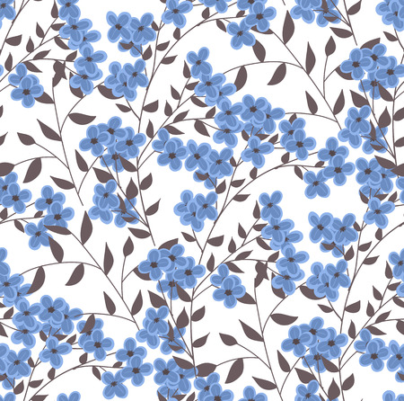 flower patterns: Seamless pattern with blue decorative flowers and branches.
