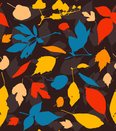 fallen: Seamless pattern with colorful autumn leaves