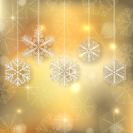 snowflake snow: Snowflake Christmas ornaments on golden background with falling snow and space for text. Stock Photo