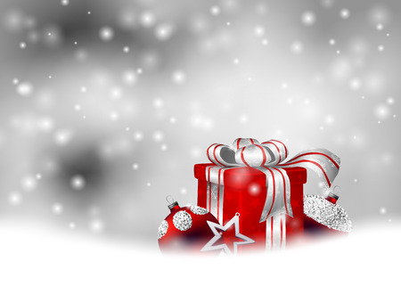 christmas star background: Christmas gift, baubles and star on gray background with falling snow. Illustration