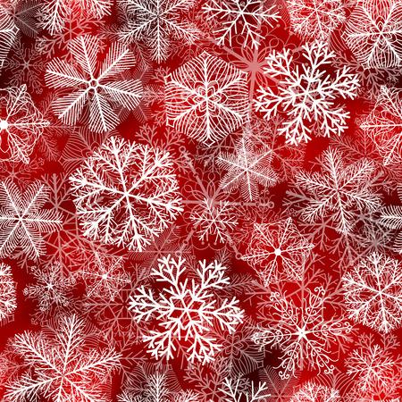 Sneeuwvlokken patroon. Naadloos patroon met pluizige witte sneeuwvlokken op rode achtergrond.