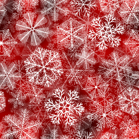 Snowflakes pattern. Seamless pattern with fluffy white snowflakes on red background.