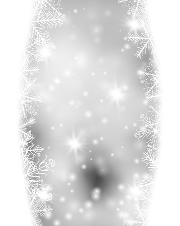 snowflake snow: Snowflake borders on gray background with falling snow. Christmas card.