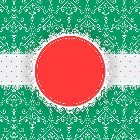 fir trees: Round label with lace border and dotted ribbon on patterned background with decorative fir trees, Christmas background