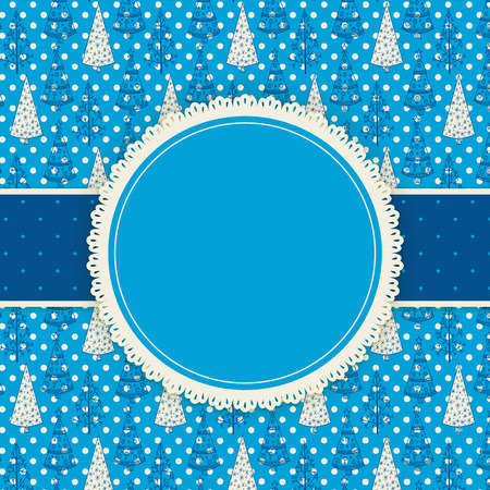 fir trees: Round label with lace border and dotted ribbon on patterned background with fir trees, Christmas background Illustration