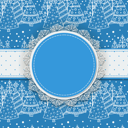 fir trees: Round label with lace border and dotted ribbon on patterned background with doodle fir trees and falling snow, Christmas background