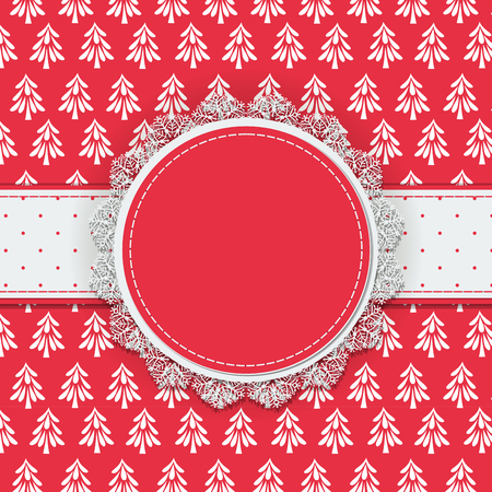 fir trees: Round label with lace border and dotted ribbon on patterned background with doodle fir trees, Christmas background