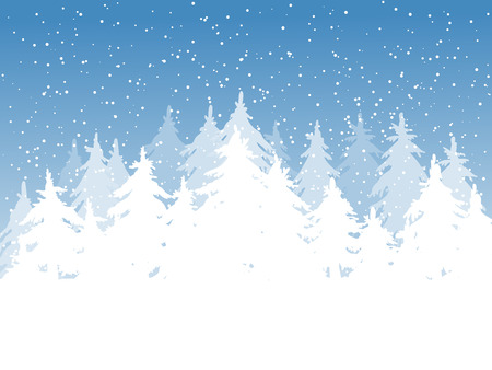 trees seasonal: Winter background. Fir trees covered with snow on blue background with falling snow and space for text.