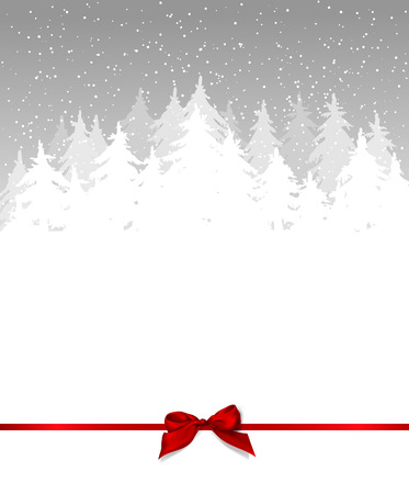 trees seasonal: Winter background. Fir trees covered with snow on blue background with falling snow, red bow and space for text.