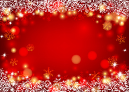 Snowflakes forming borders on red background with lights and space for text. Illustration