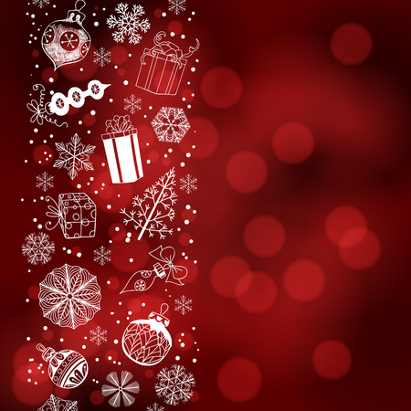 Various Christmas related objects forming border. Christmas background with space for text