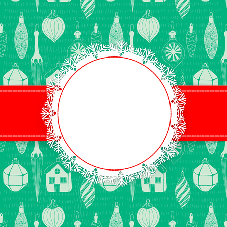 doodled: Christmas card. White round label with lace snowflake border on pattern background with doodled Christmas ornaments.