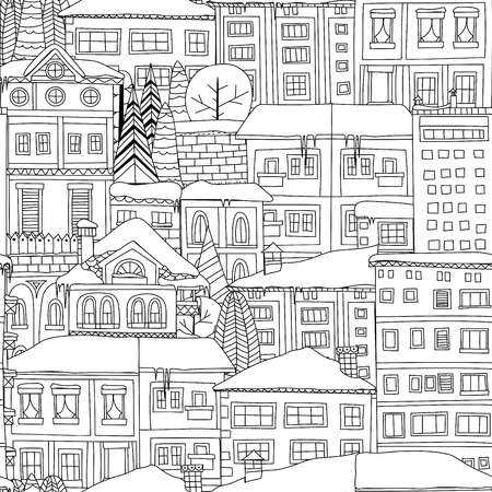 doodled: Winter town seamless pattern. Doodled houses and trees covered in snow.