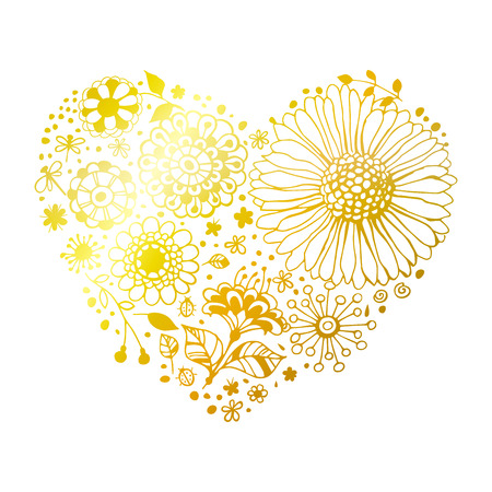 golden daisy: Heart made of various decorative flowers. Valentines day design.