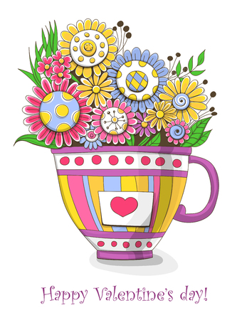 doodled: Bouquet of doodled flowers in a cup with heart. Valentines day design. Illustration