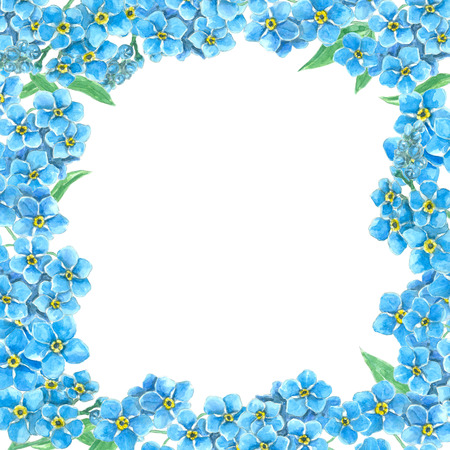Frame made of forget me not flowers with space for text. Watercolor illustration.