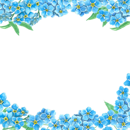 Borders made of forget me not flowers with space for text. Watercolor illustration.