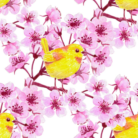 arbol de cerezo: Watercolor seamless pattern with  cherry blossom branches and yellow birds. Element for design.