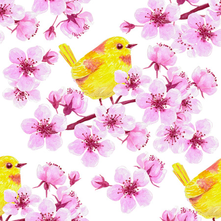 yellow blossom: Watercolor seamless pattern with  cherry blossom branches and yellow birds. Element for design.