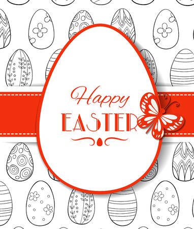 diseño de tarjeta de tarjeta de pascua . etiqueta de papel en forma de huevo con letras y mariposas en el fondo patrón con diferentes conejos