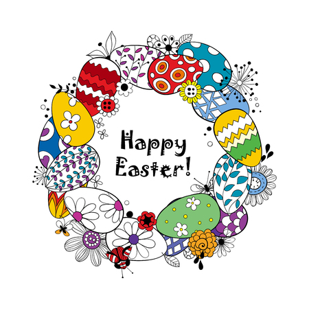 doodled: Happy Easter background.Frame made of eggs and doodled flowers and butterflies and lettering.