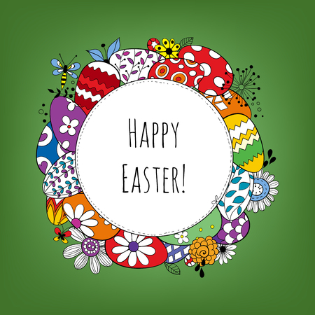 doodled: Happy Easter holiday background. Frame made of eggs and doodled flowers and butterflies and label with lettering.