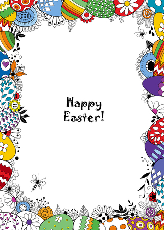 Frame made of Easter eggs and doodled flowers, leaves and bugs. Template design with lettering.