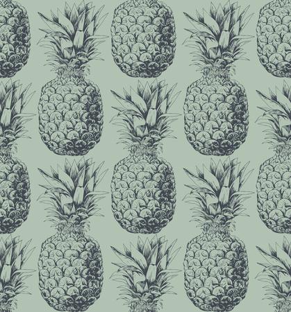 pattern: Pineapple fruit seamless pattern. Hand drawn element for design. Illustration