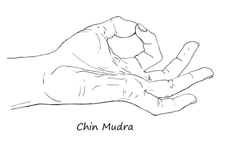 prana: Chin or Gyan Mudra. Hand drawn illustration of ritual yoga hand gesture.