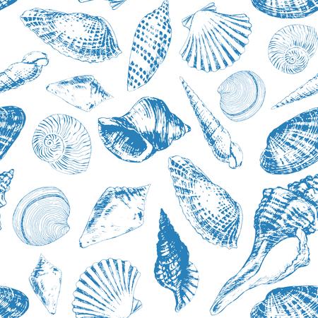 Seamless pattern with various hand - drawn seashells and starfish Illustration