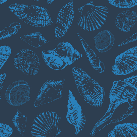 Seamless pattern with various hand - drawn seashells and starfish