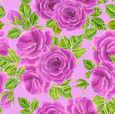 Red roses with leaves and buts painted in watercolor. Seamless pattern for designing wedding invitations, cards and more.