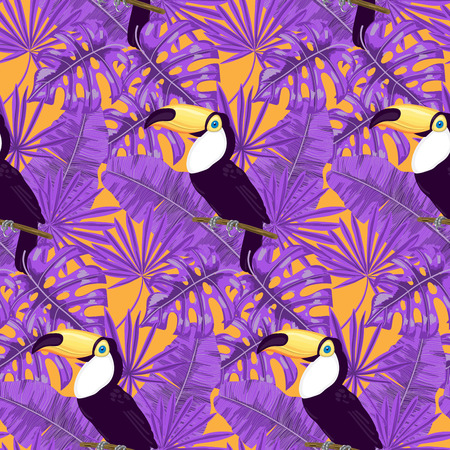 Tropical pattern. Seamless vector pattern with  toucan, palm, banana and monstera leaves. Stock Photo