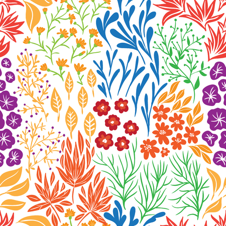 Seamless floral pattern in doodle style. Background for design.