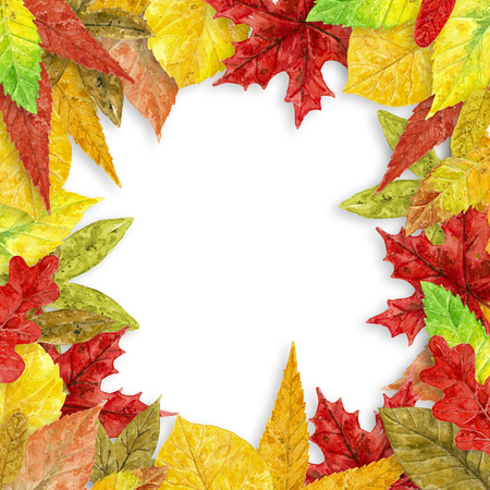 Frame made of various autumn leaves painted with watercolors on white background with space for text.