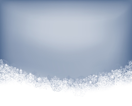 Winter background. Wave border made of fluffy snowflakes with space for text on soft blue background. Çizim