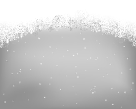 Winter background. Wave border made of fluffy snowflakes with space for text on gray  background with falling snow. Çizim